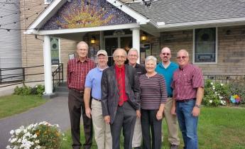 Bill Barker, Mark Abernathy, Dewey and Kathie Aiken, Steven Gintz, Barry Whitworth, and Tamaqua Community Arts Center volunteer Jack Kulp.