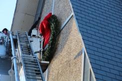 Coaldale Fire Company Placing Christmas Wreath, Trinity UCC, Tamaqua, 11-14-2015 (17)
