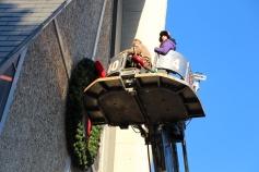 Coaldale Fire Company Placing Christmas Wreath, Trinity UCC, Tamaqua, 11-14-2015 (8)