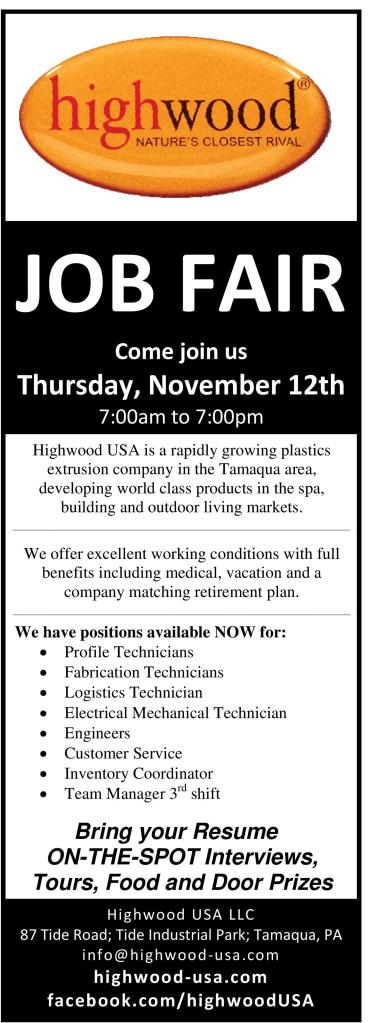 Job Fair Ad for Highwood USA LLC, Hometown, 11-9-2015 - Copy