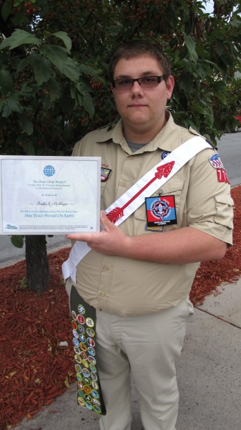 Peace Pole Dedication, Tamaqua Boy Scout, Train Station lot, Tamaqua, 9-21-2015 (1)
