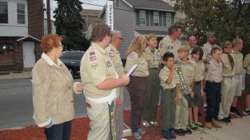 Peace Pole Dedication, Tamaqua Boy Scout, Train Station lot, Tamaqua, 9-21-2015 (14)