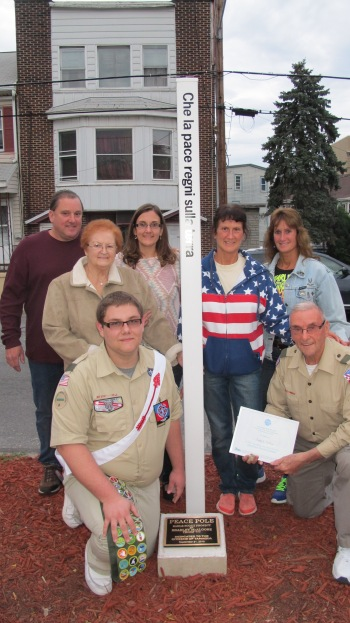 Peace Pole Dedication, Tamaqua Boy Scout, Train Station lot, Tamaqua, 9-21-2015 (26)