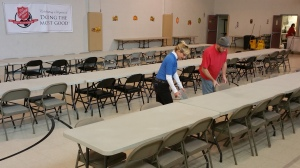 Preparing Chairs, Tables for Thanksgiving Day Meal, Salvation Army, Tamaqua, 11-25-2015 (1)