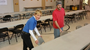 Preparing Chairs, Tables for Thanksgiving Day Meal, Salvation Army, Tamaqua, 11-25-2015 (2)