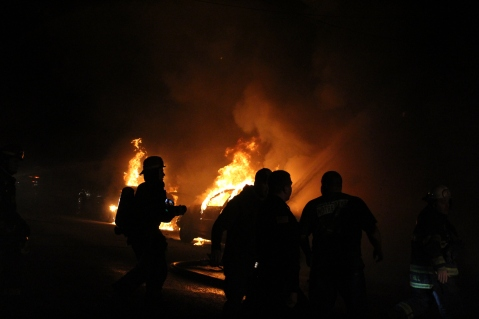 Row Home Fire, Blaze, 100 Block of Orwigsburg Street, Tamaqua, 11-21-2015 (1)
