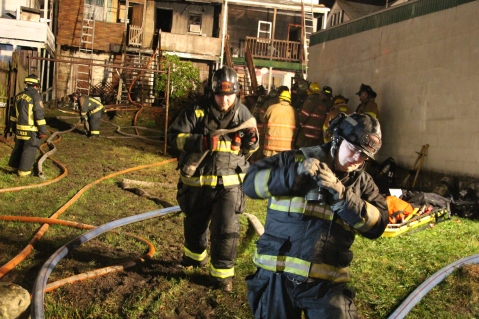 Row Home Fire, Blaze, 100 Block of Orwigsburg Street, Tamaqua, 11-21-2015 (155)
