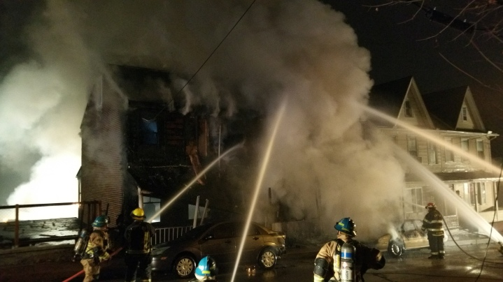 Row Home Fire, Blaze, 100 Block of Orwigsburg Street, Tamaqua, 11-21-2015 (606)