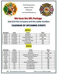 Upcoming Events, East End Fire Company, Tamaqua, 2015-2016