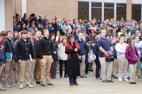 Veterans Day Program, Flag Pole, Tamaqua Area High School, Tamaqua, 11-11-2015 (78)