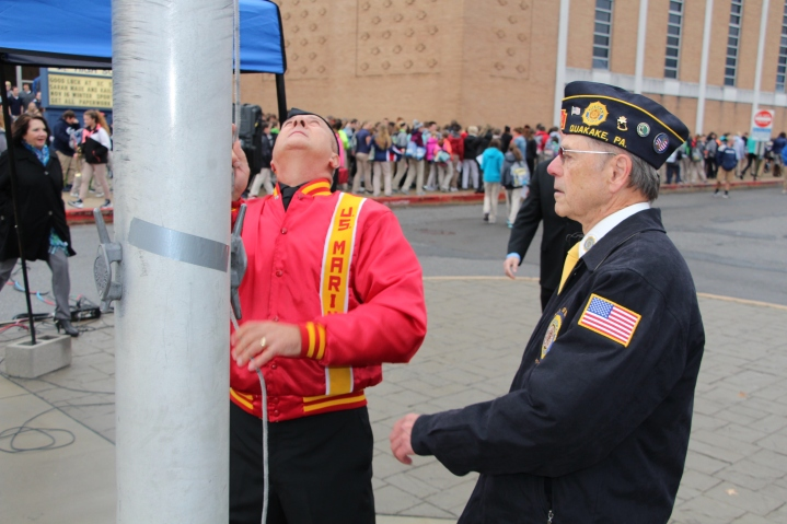 Veterans Day Program, Flag Pole, Tamaqua Area High School, Tamaqua, 11-11-2015 (81)