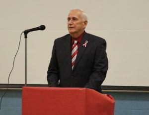 Veteran Joe Deren served as guest speaker. Deren is also the school's maintenance man.