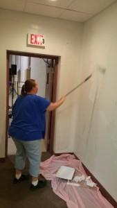 Volunteer Lorraine Durning Painting Wall, Tamaqua Salvation Army, Tamaqua, 9-30-2015 (2)