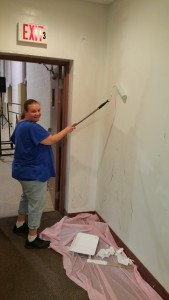 Volunteer Lorraine Durning Painting Wall, Tamaqua Salvation Army, Tamaqua, 9-30-2015 (3)