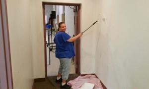 Volunteer Lorraine Durning Painting Wall, Tamaqua Salvation Army, Tamaqua, 9-30-2015 (4)