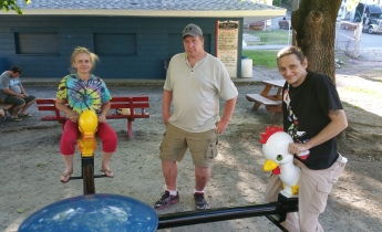 Pictured from left are Kathleen Farber, Ray Sell, and Tom Walker.