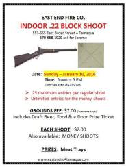 1-10-2016, Indoor Block Shoot, East End Fire Company, Tamaqua