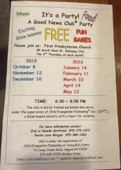 1-14, 2-11, 3-10, 4-14, 5-12-2016, It's A Party Good News Club Party, First Presbyterian Church, Mahanoy City