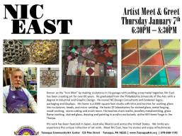 1-7-2016, Artist Meet & Greet, artist Iron Man, Nick East, Tamaqua Community Arts Center, Tamaqua