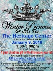 1-9-2016, Annual Winter Princess & Me Tea, Summit Hill Heritage Center, Summit Hill