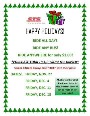 12-11, 12-18, 2015, STS Ride The Bus for a Dollar Holiday Program