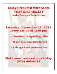 12-12-2015, Breakfast With Santa, Vonz Restaurant, Tamaqua