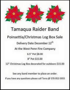 12-12-2015, Delivery Date for Tamaqua Raider Band Poinsettia, Christmsa Log Box Sale, West Penn Fire Company, West Penn