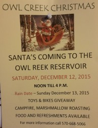 12-12-2015, Santa's Coming to Owl Creek Reservoir, Tamaqua