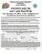 12-12-2015, Snowflake 5K, 1 Mile Run, Wlak, Zion UCC, Lehighton