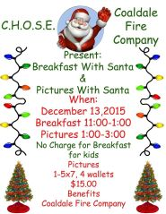 12-13-2015, Brunch and Photos and Santa, via CHOSE, Coaldale Fire Company, Coaldale