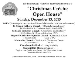 12-13-2015, Christmas Creche Open House, Shows, Church Exhibits, Summit Hill