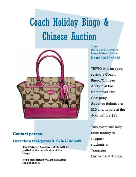 12-13-2015, Coach Holiday Bingo and Chinese Auction, via TEPTO, at Hometown Fire Company, Hometown