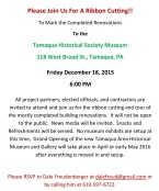 12-18-2015, Invitation to Ribbon Cutting, Main Phase Complete, Tamaqua Historical Society Museum, Tamaqua