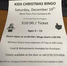 12-19-2015, Kids Christmas Bingo, West Penn Fire Company, West Penn