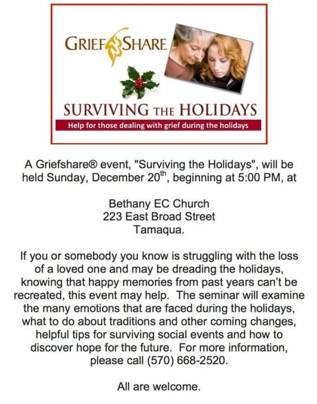12-20-2015, Grief Share Event, Bethany EC Church, Tamaqua