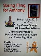 3-12-2016, Spring Fling for Anthony, Craft Fair, Basket Auction, Easter Egg Hunt, at Big Creek Grange, Lehighton