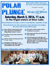 3-5-2016, Polar Plunge, benefits Make-A-Wish, Deer Lake