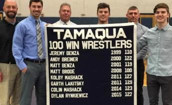 Special to TamaquaArea.com / Pictured from left are Mike Hromyak, Tamaqua Athletic Director; Dylan Rynkiewicz; Kolby Mashack; Jon Mashack, head coach; and Colin Mashack.