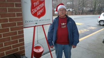 Pat Fredericks Volunteering at a Red Salvation Army Kettle, Boyers Food Market, Tamaqua