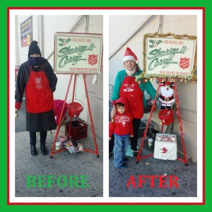 Pictured is Salvation Army volunteer Gloria Scoudt standing at a red kettle at the Boyer's Food Market in Lansford. Also pictured is Jason Jr. Westwood, son of Jason Westwood and Sara Hargreaves of Lansford.