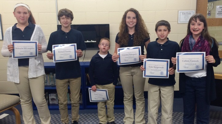 Tamaqua Middle School Students of the Month for November, Tamaqua, 12-3-2015