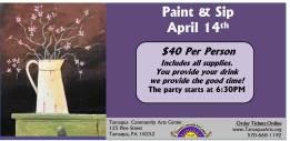 4-14-2016, Paint and Sip, Tamaqua COmmunity Arts Center, Tamaqua