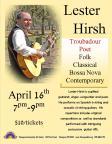 4-16-2016, Performance by Lester Hirsh, Troubadour, Poet, Folk, Classical, Bossa Nova, Contemporary, Tamaqua Community Arts Center, Tamaqua
