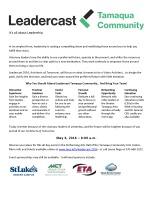 5-6-2016, Leadercast, Online, also via Tamaqua Community Arts Center, Tamaqua