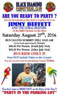 8-27-2016, Concert, Jimmy Buffett and the Coral Reefers, Bus Leaves Summit Hill