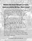 10-29-2016, Tips to Write Your Own Obituary, Tamaqua Community Arts Center, Tamaqua
