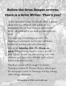 10-29-2016, Tips to Write Your Own Obituary, Tamaqua Community Arts Center, Tamaqua