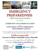 8-29-2016, Emergency Preparedness, Free Education Seminar, at Terrence Reiley Community Center, Pottsville