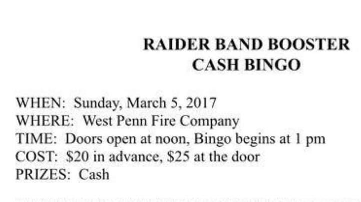 3-5-2017-raider-band-booster-cash-bingo-at-west-penn-fire-company-west-penn