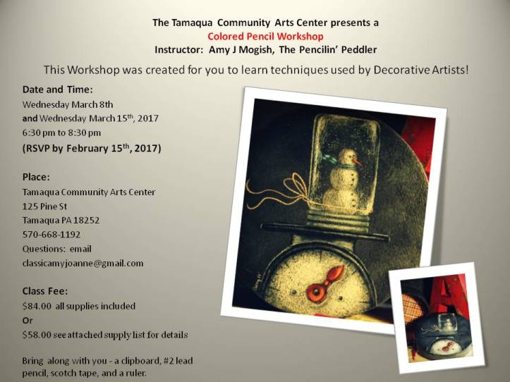 3-8-2017-colored-pencil-workshop-vintage-scale-and-snowglobe-at-tcac-tamaqua-1